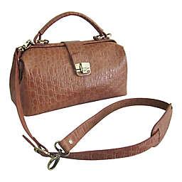 Amerileather Hillary Classic Handbag in Brown Pebble-Print