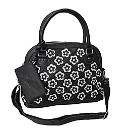 Amerileather Kenzer Leather Handbag in Black/white