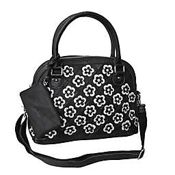 Amerileather Kenzer Leather Handbag in Black/white