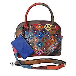 Amerileather Kenzer Leather Patchwork Shoulder Handbag in Rainbow