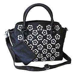 Amerileather Stelix Leather Handbag in Black/White