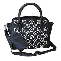 42f0fee66 Amerileather Stelix Leather Handbag in Black/White