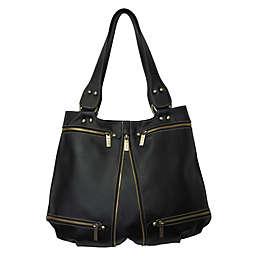 Amerileather Rila Zip Leather Handbag in Black