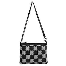 Amerileather Zigzagger Leather Shoulder Bag in Black/White