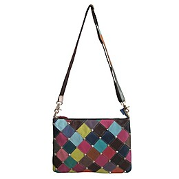 Amerileather Zigzag Diamond Leather Shoulder Bag in Rainbow