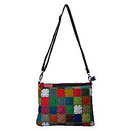 Amerileather Zigzag Squares Leather Shoulder Bag in Rainbow
