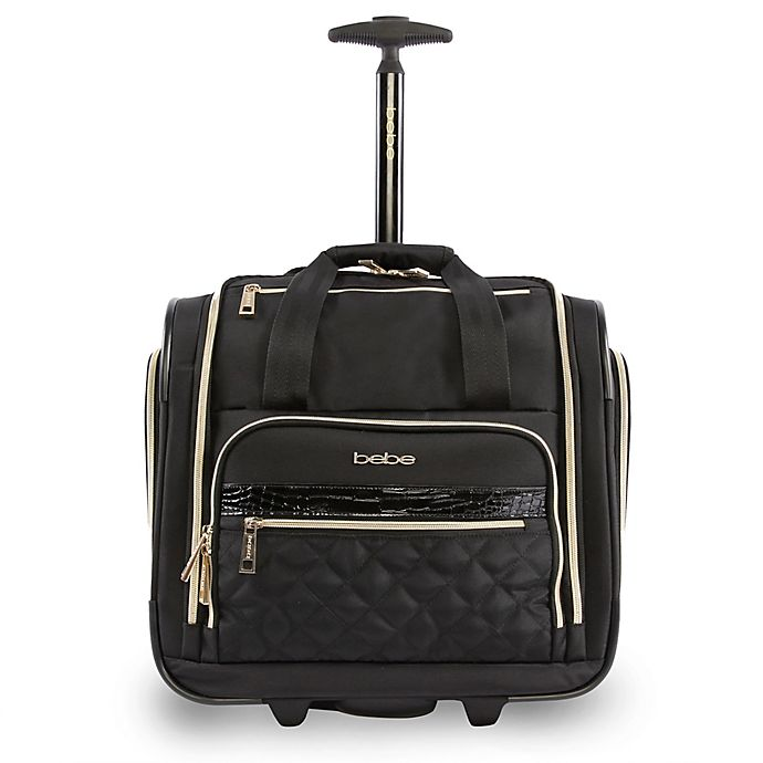 Alternate image 1 for BEBE Leena 15.5-Inch Rolling Under the Seat Carry On Tote in Black