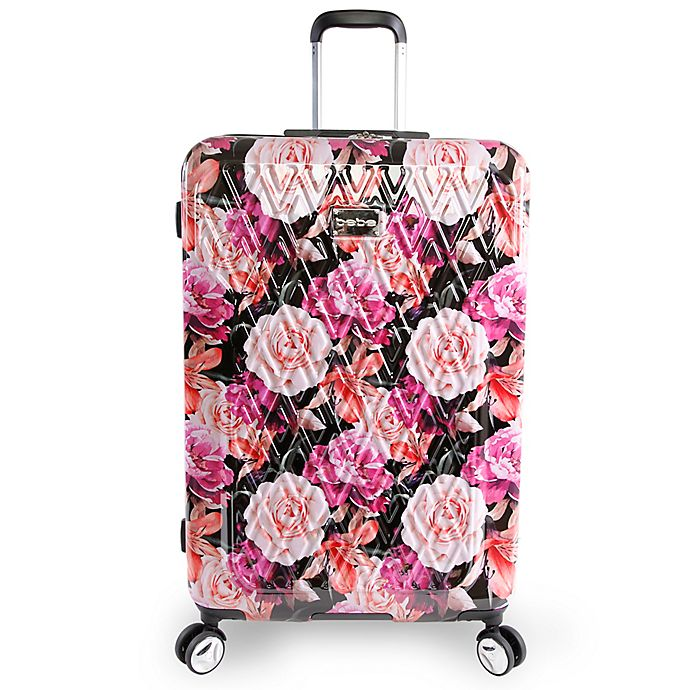 Alternate image 1 for BEBE Marie 29-Inch Rolling Hardside Checked Spinner in Floral