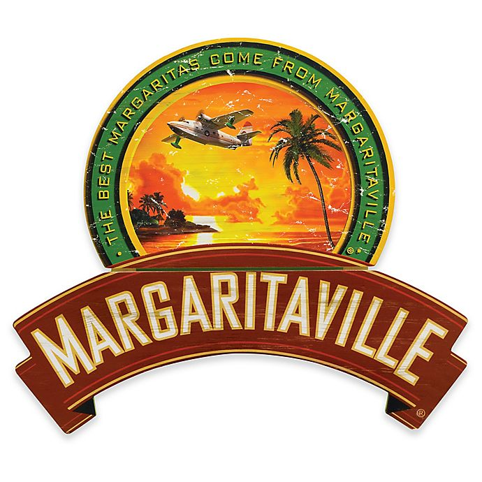 Alternate image 1 for Margaritaville® Plane and Palms 25.5-Inch x 28-Inch Wall Art in Red/Green