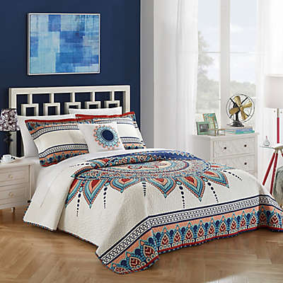 Chic Home Yucca Reversible King Quilt Set in Blue