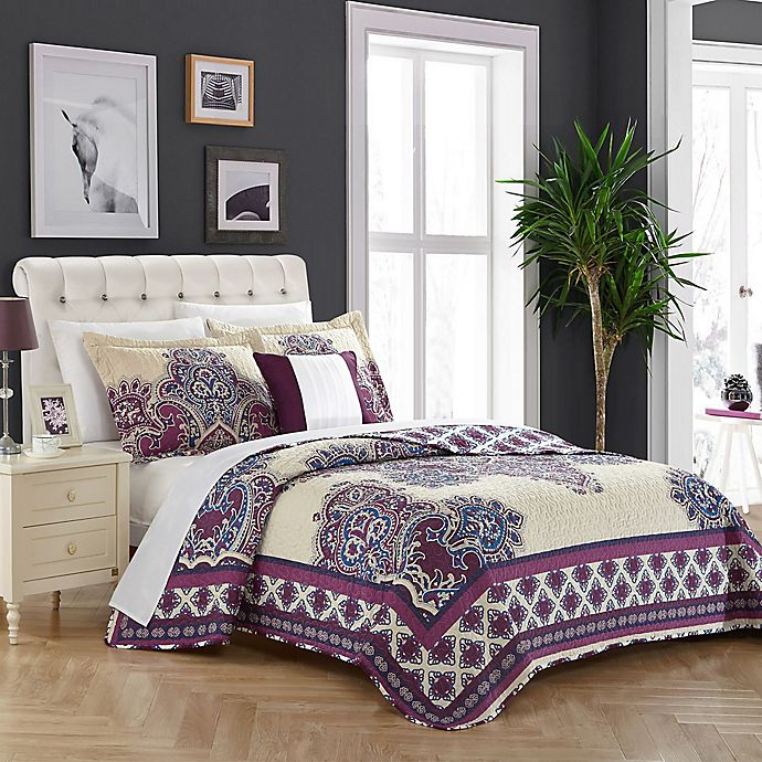 Alternate image 1 for Chic Home Shiva Reversible King Quilt Set in Purple