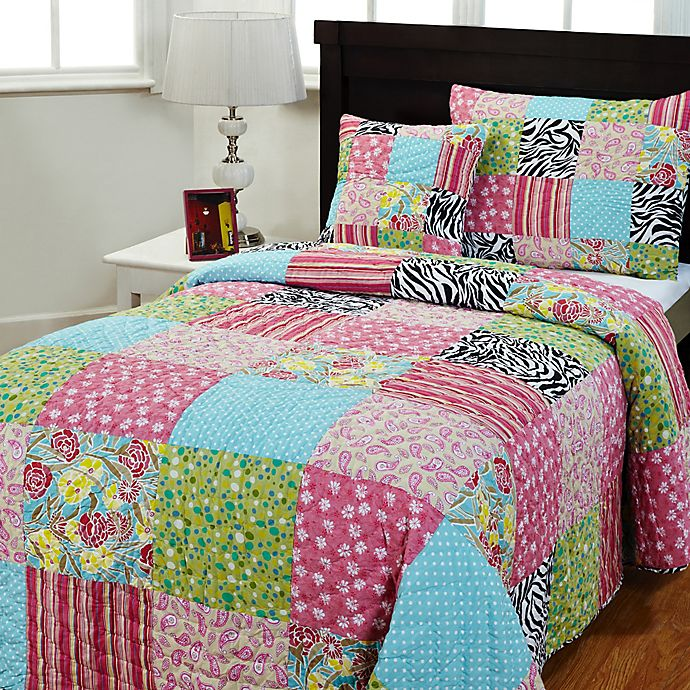 Alternate image 1 for Amity Home Zebra Patchwork Quilt Set in Pink/Green