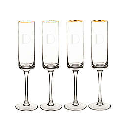 Cathy's Concepts Gold Rim Champagne Flutes (Set of 4)