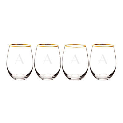 Cathy's Concepts Gold Rim Stemless Wine Glasses (Set of 4)