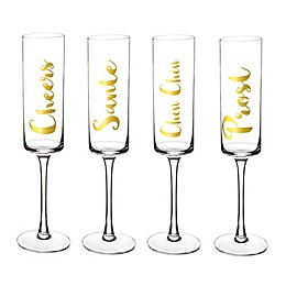 Cathy's Concepts Cheers Champagne Flutes (Set of 4)