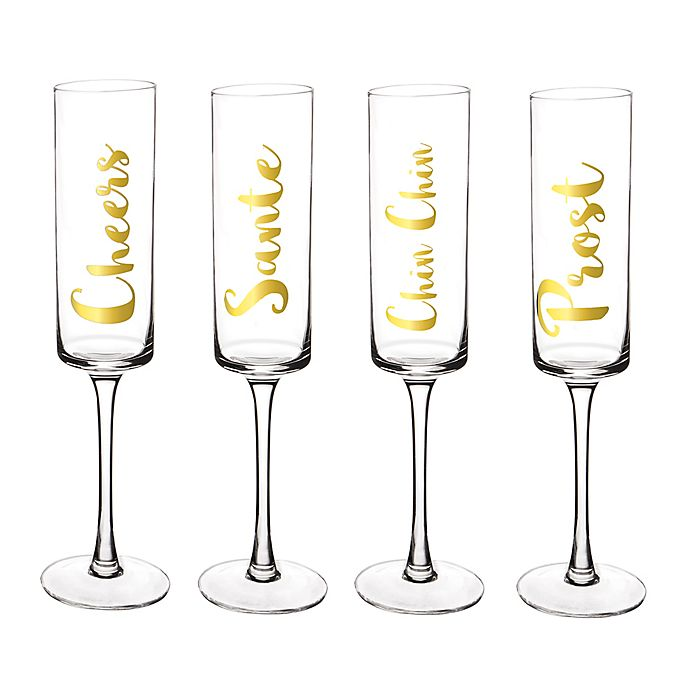 Alternate image 1 for Cathy's Concepts Cheers Champagne Flutes (Set of 4)