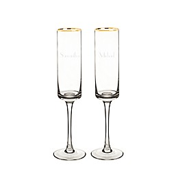 Cathy's Concepts Gold Rim Champagne Flutes (Set of 2)