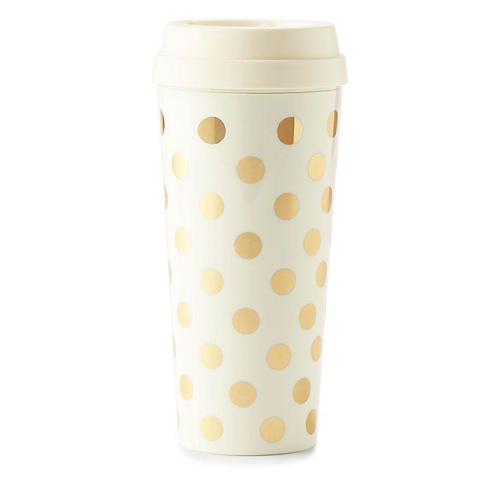 Alternate image 1 for kate spade new york Gold Dots Thermal Travel Mug
