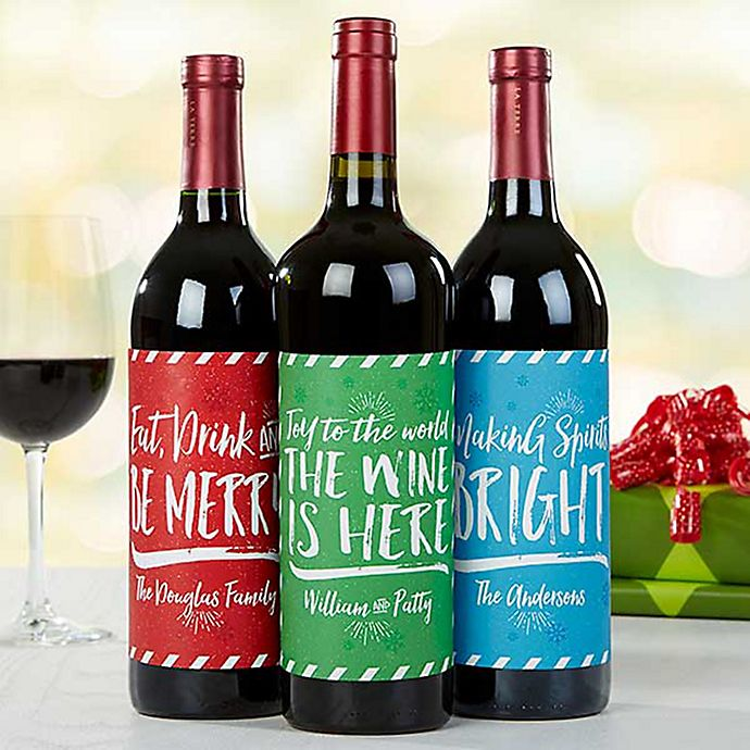 Holiday Cheer Wine Bottle Labels (Set of 3) | Bed Bath ...