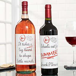 A+ Teacher Wine Bottle Label