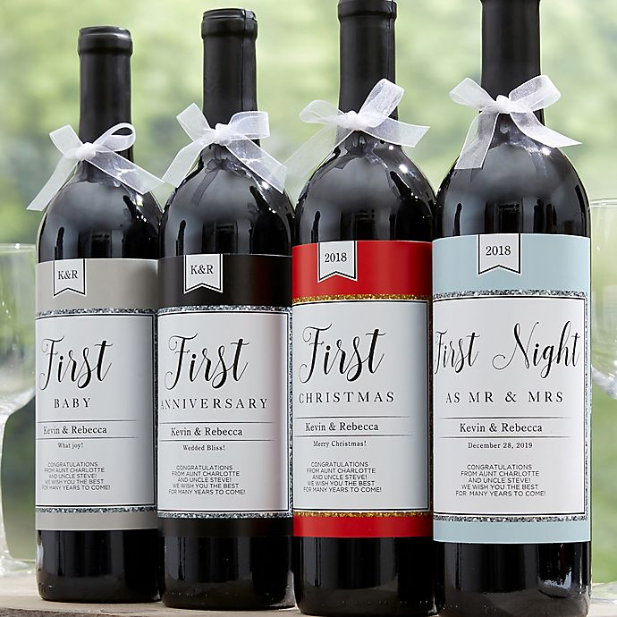 Wine Firsts Wedding Gift: A Year Of Firsts Milestone Wine Bottle Labels