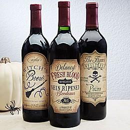 Vintage Halloween Wine Bottle Labels (Set of 3)