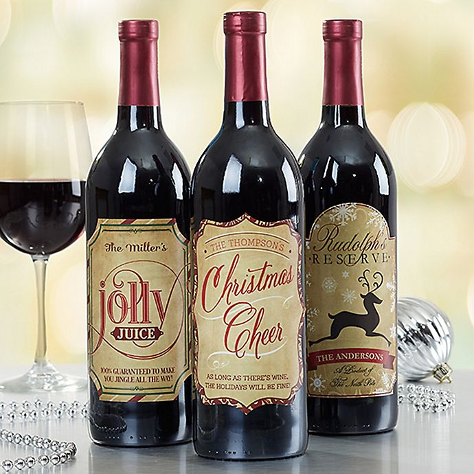 Alternate image 1 for Very Merry Christmas Wine Bottle Labels (Set of 3)