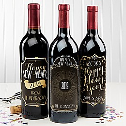 Happy New Year! Wine Bottle Labels (Set of 3)