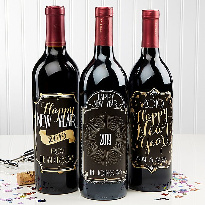 happy new year wine bottle labels set of 3