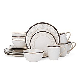 Pfaltzgraff® Promenade Scroll 16-Piece Dinnerware Set in White