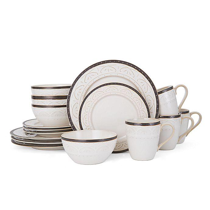 Alternate image 1 for Pfaltzgraff® Promenade Scroll 16-Piece Dinnerware Set in White