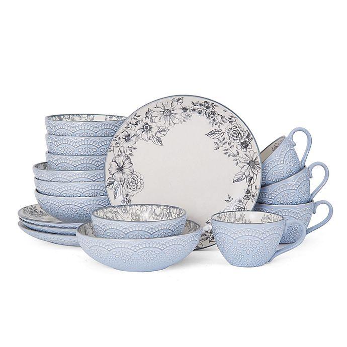 Alternate image 1 for Pfaltzgraff® Gabriela 16-Piece Dinnerware Set in Grey
