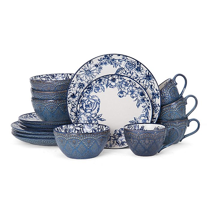 Alternate image 1 for Pfaltzgraff® Gabriela 16-Piece Dinnerware Set in Blue