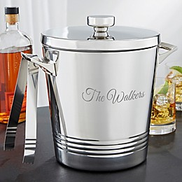 Top Shelf Personalized Stainless Steel Double Wall Ice Bucket with Tongs