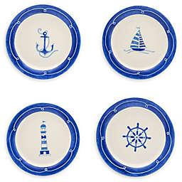 Euro Ceramica Nautical Ahoy Salad Plates (Set of 4)