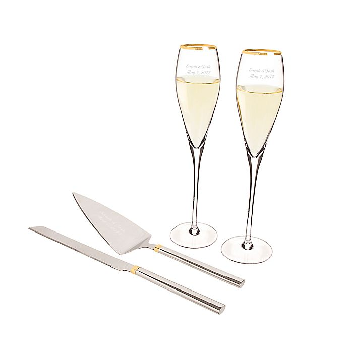 Alternate image 1 for Cathy's Concepts 4-Piece Golden Champagne Glasses and Cake Serving Set