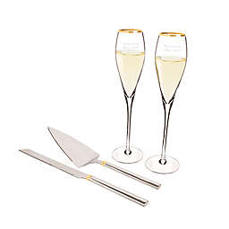 Cathy's Concepts 4-Piece Golden Champagne Glasses and Cake Serving Set