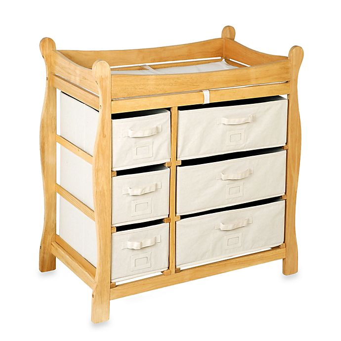 Alternate image 1 for Badger Basket Sleigh Changing Table with 6 Baskets