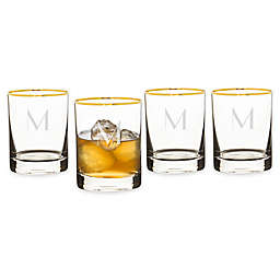 Cathy's Concepts Gold Rim Whiskey Glasses (Set of 4)