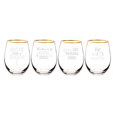 Cathy's Concepts 90's Throwback Gold Rim Stemless Wine Glasses (Set of 4)
