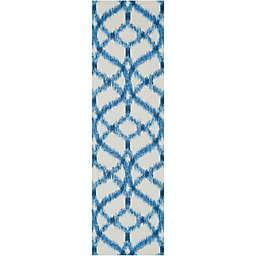 Nourison Sun & Shade Ogee Indoor/Outdoor 2'3 x 8' Runner in Blue
