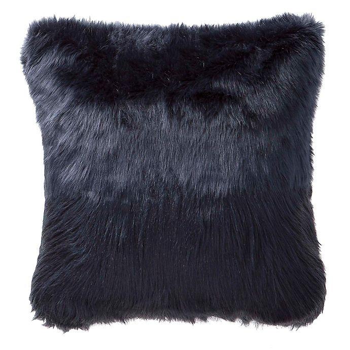 Alternate image 1 for Highline Bedding Co. Jakarta Faux Fur Square Throw Pillow in Indigo
