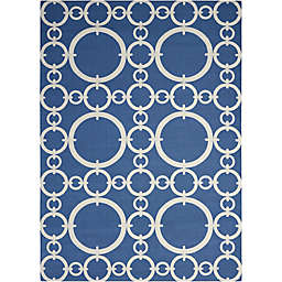 Nourison Waverly Sun & Shade Rings 10' x 13' Indoor/Outdoor Area Rug in Navy