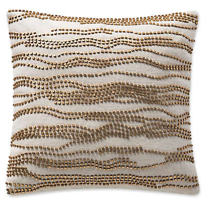 Highline Bedding Co. Madrid Beaded Square Throw Pillow in Gold