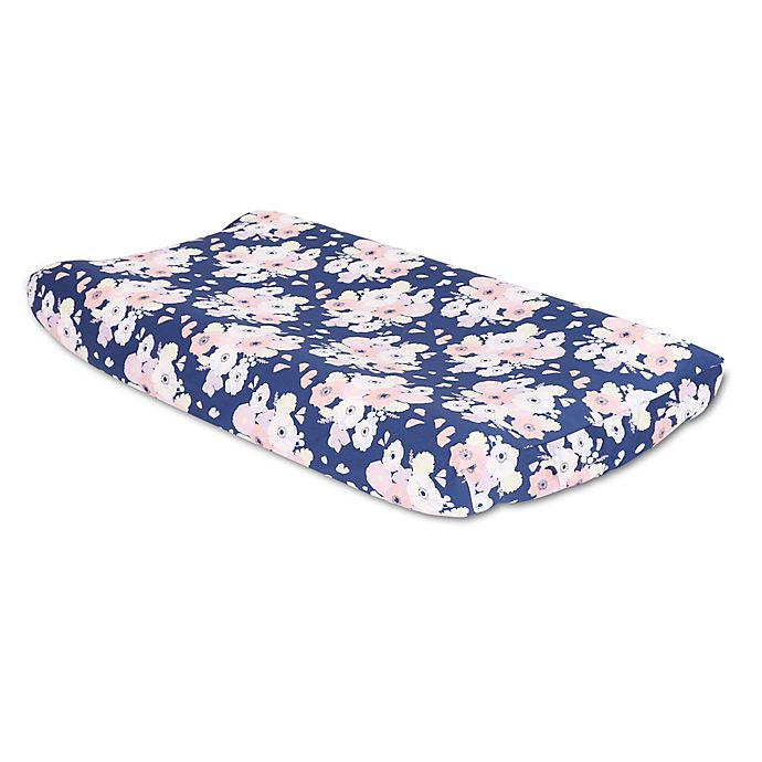 Alternate image 1 for The Peanutshell™  Floral Changing Pad Cover in Navy