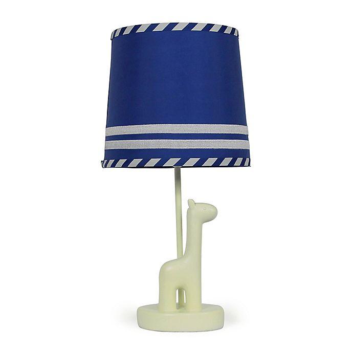 Alternate image 1 for The Peanutshell™ Giraffe Stripe Lamp Base and Shade in Blue/Steel