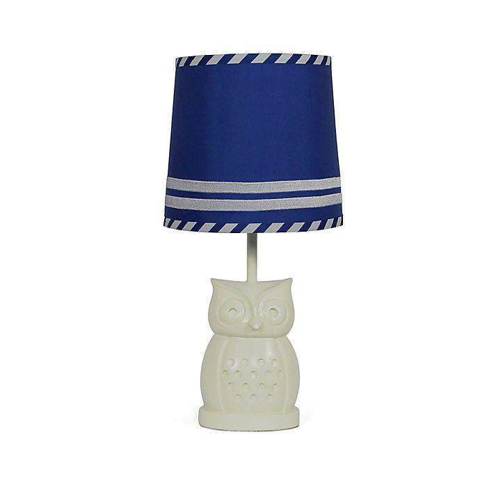 Alternate image 1 for The PeanutShell™ Owl Blue Stripe Lamp