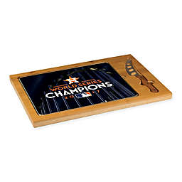 MLB Houston Astros 2017 World Series Champions Icon Glass Serving Tray and Knife Set