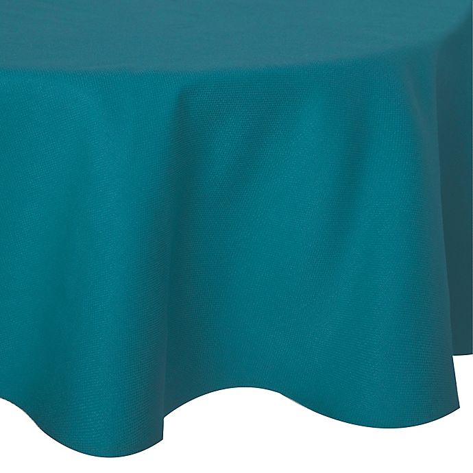 Alternate image 1 for Keeco 90-Inch Round Basket Weave Tablecloth in Teal