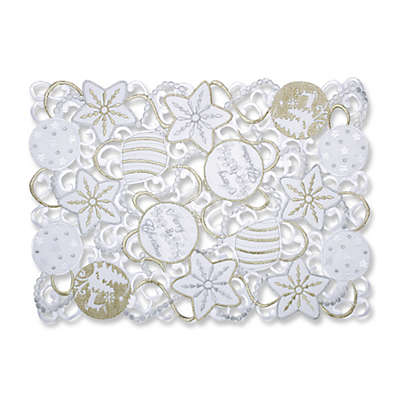 Pillow Perfect Ornaments Placemats in White/Silver (Set of 2)